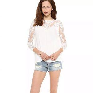 For Love & Lemons Bonita Shirt Top Blouse Lace